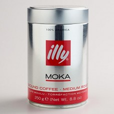 illy Medium Roast Ground Moka Coffee for Stovetop Coffeemakers, 8.8 ounce c