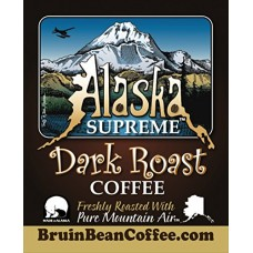Alaska Supreme Coffee TM, GROUND, Freshly Roasted in Alaska with Pure Mountain Air TM - Specialty, Rich, Dark Blend & Premium Roast - Gourmet, Low Acidity, 12 oz Resealable, High Quality Bags