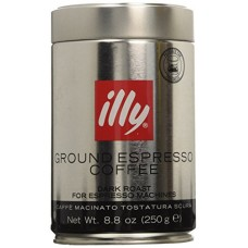 illy, Ground Espresso Coffe, Dark Roast, 8.8-Ounce Tins (Pack of 2)